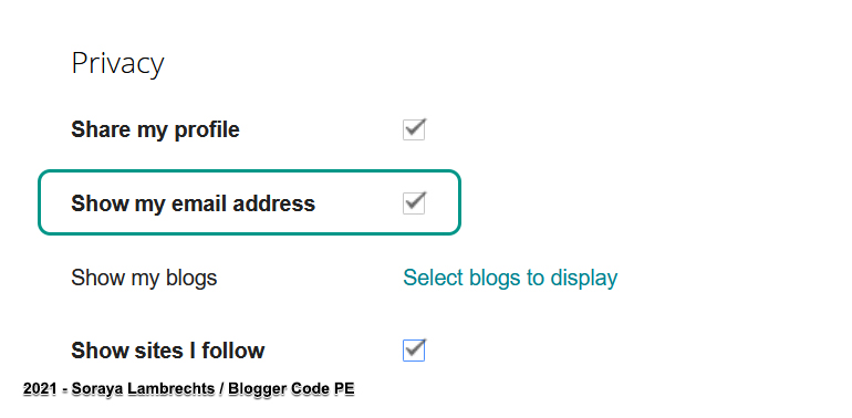 Enable/Disable the display of the mailto link in the Blogger profile.