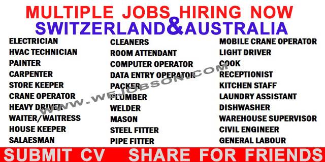 JOBS IN SWITZERLAND AND AUSTRALIA ~ WEJOBS ON