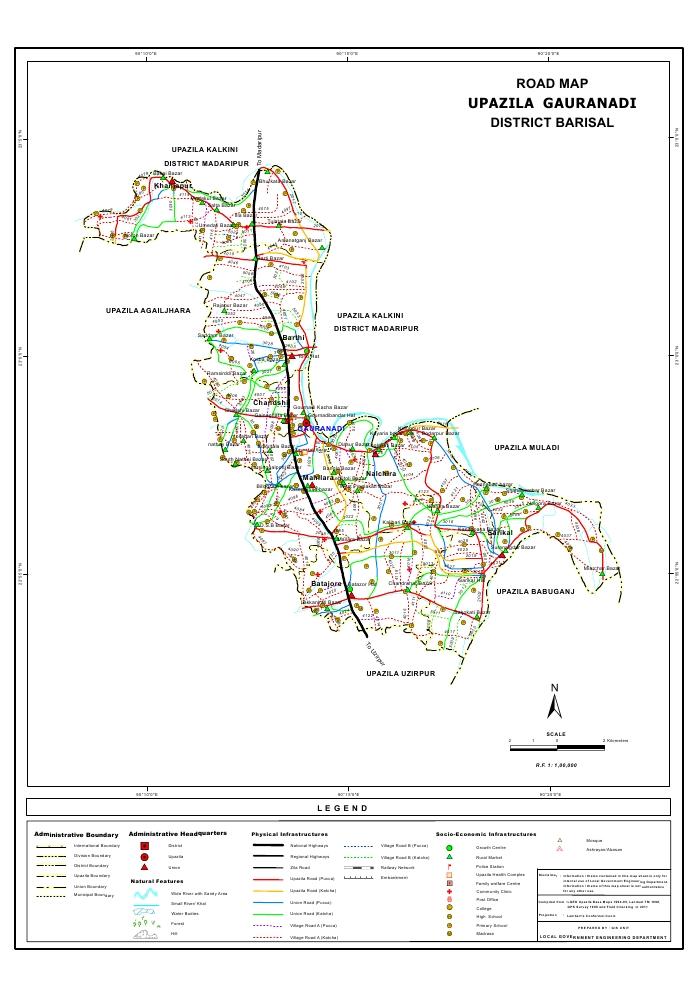 Gauranadi Upazila Road Map Barisal District Bangladesh