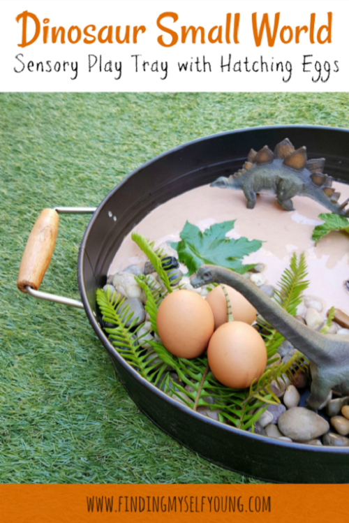 Dinosaur small world play tray with real eggs.