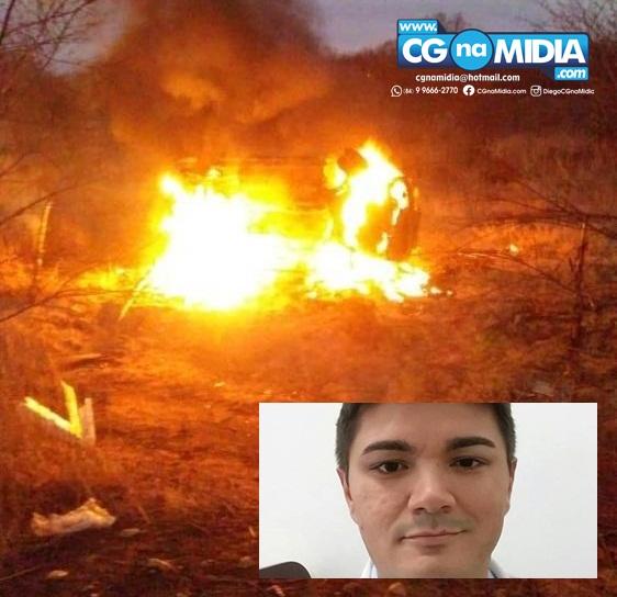 Médico perde controle e veículo pega fogo após capotar; ele foi salvo por PMs de Pau dos Ferros