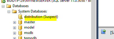 Database 'distribution' cannot be opened  It has been marked