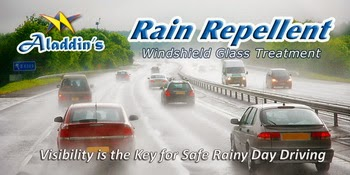 Aladdins Rain Repellent helps your rainy day driving visibility