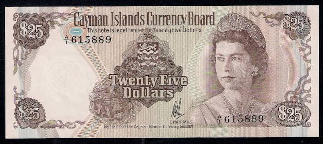 Cayman Islands paper money currency banknotes 25 Dollars, Queen Elizabeth