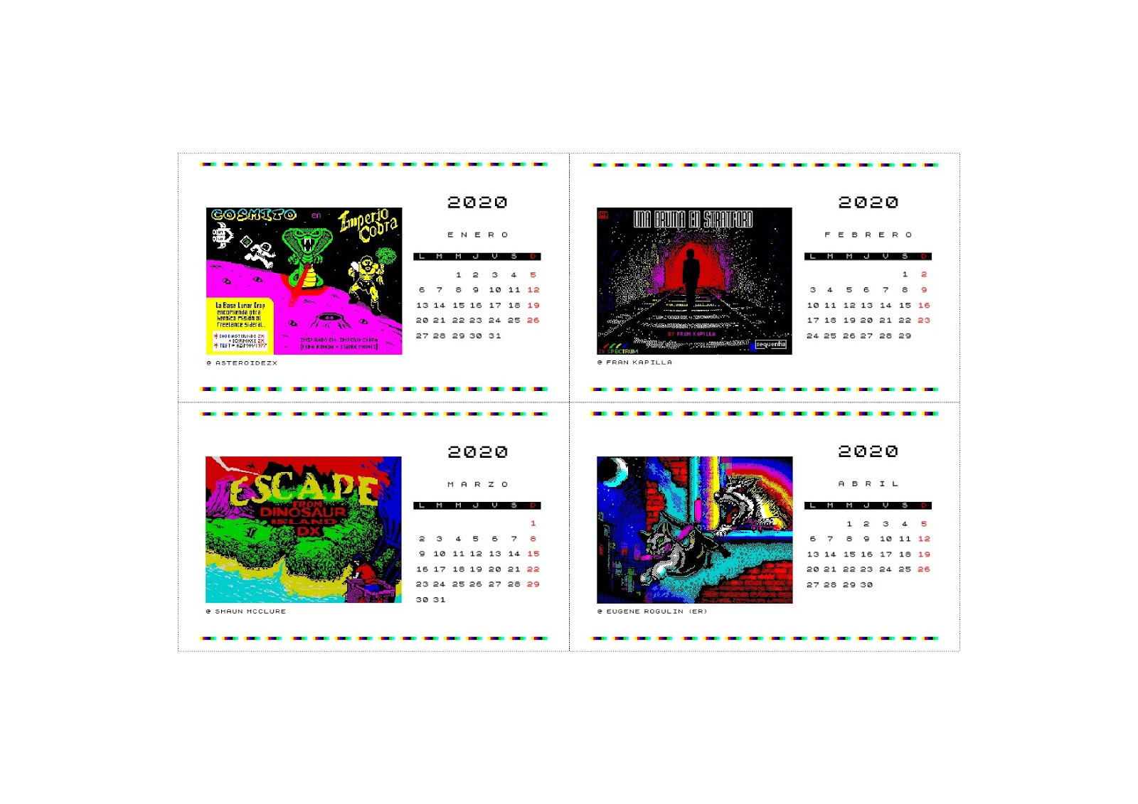 Calendario 2020 ZX Espectrumero, de Darío Ruellan