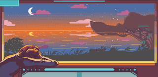 Screenshot from the game Solare showing pixellated landscape with person watching out of window