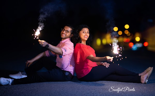 Pre Wedding Shoot At Night With Fireworks