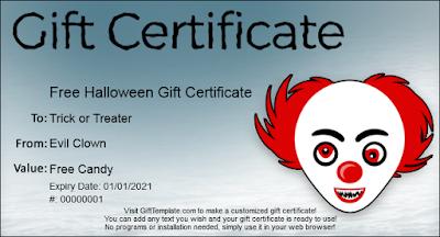 free halloween gift certificate