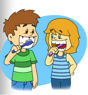 De fio dental escovando os dentes 4