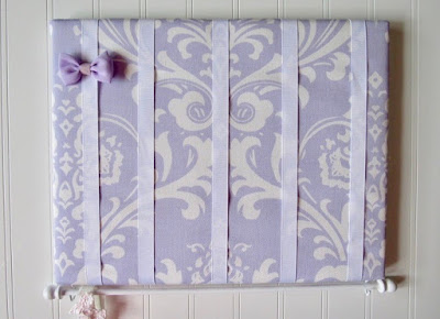bow and hairband holder — ribbons on a lavender and white damask print fabric backing