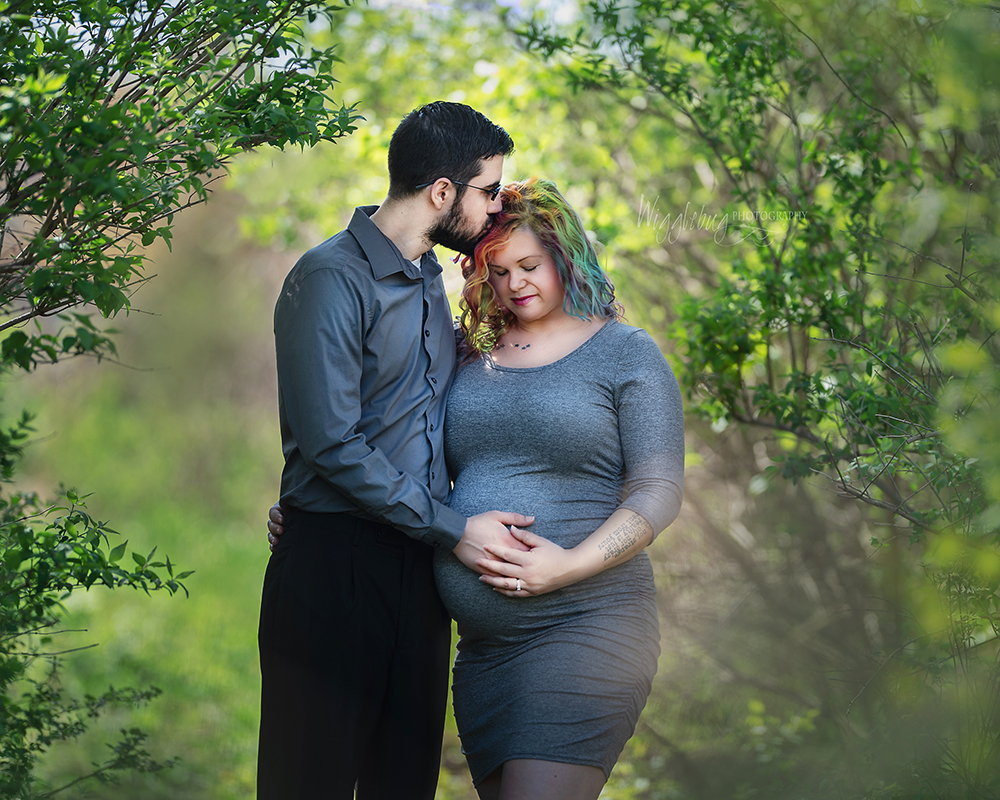Amazing outdoor rainbow maternity session with smoke bombs and rainbow hair DeKalb Sycamore IL