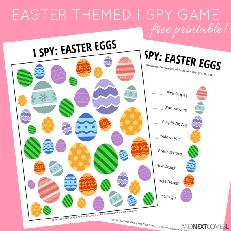 free printable easter themed i spy game for kids from and next comes l - Printable Kids