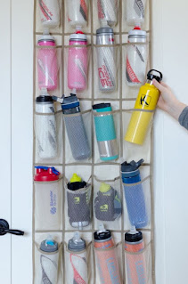 A family of exercise fans could use the space provided by this shoe rack design bottle storage