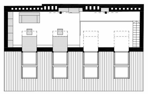 Pianta del secondo piano di una ristrutturazione di un piccolo loft a Praga