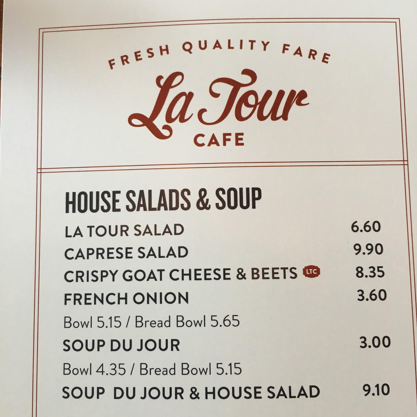 La Tour Cafe Menu Aina Haina