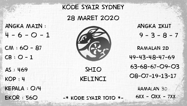 Prediksi Togel Sidney Sabtu 28 Maret 2020 - Kode Syair Sydney