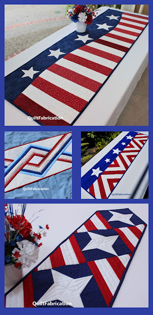 4 red white and blue table runners