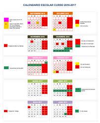 calendario escolar en Granada 16-17