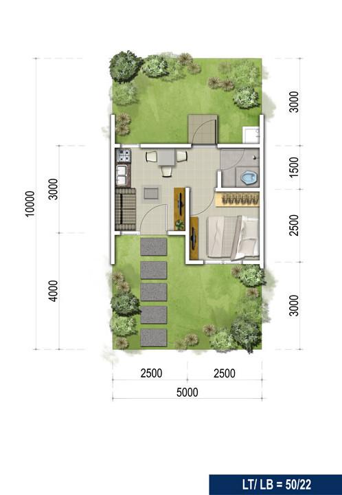 Denah rumah minimalis ukuran 5x10 meter 1 kamar tidur 1 lantai