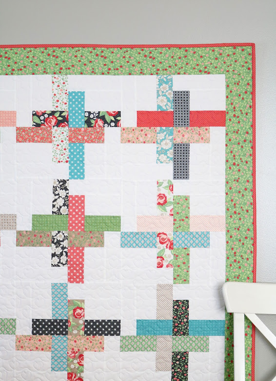 Hello Washi quilt pattern by Andy of A Bright Corner - pattern uses charm packs or jelly roll strips and comes in four sizes, baby, throw, twin, queen