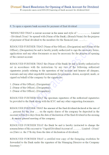 board resolution for opening of bank account for dividend