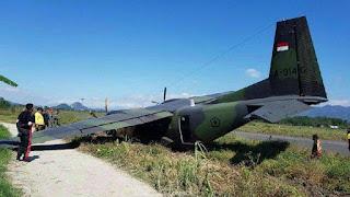 Pesawat TNI AD Casa 212 Tergelincir di Bandung