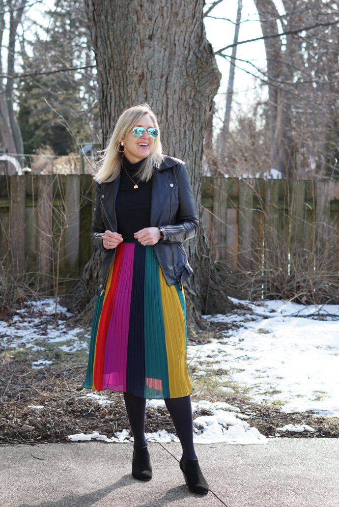 what to wear with a rainbow skirt