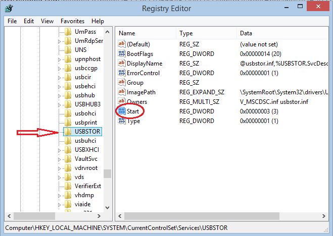 change values in registry editor