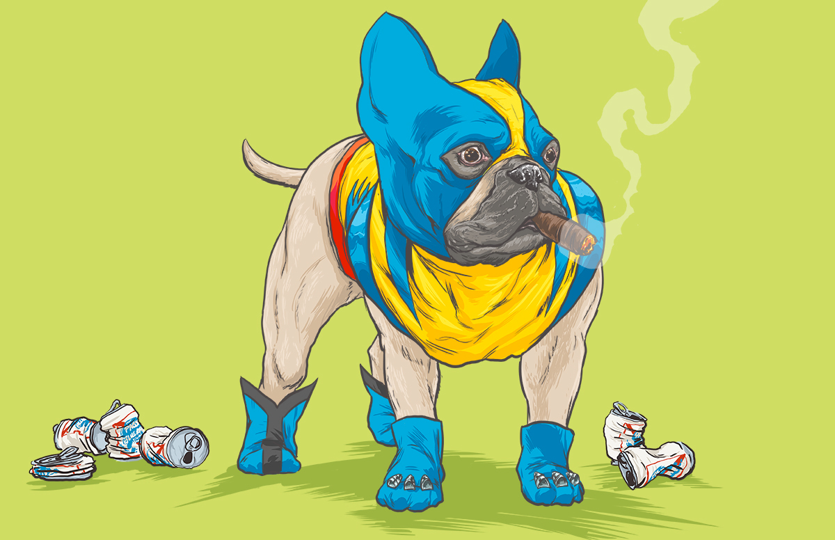 08-Wolverine-X-Men-Josh-Lynch-Illustrations-of-Dogs-with-Marvel-Comic-Alter-Egos-www-designstack-co