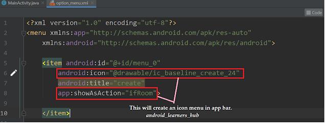 creating image icon on app bar