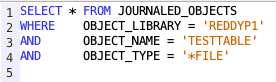 Identify the journal attached to a object - IBM i