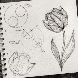 realistic drawings draw easy drawing tulip flower nature tutorials alice pencil flowers sketch tutorial