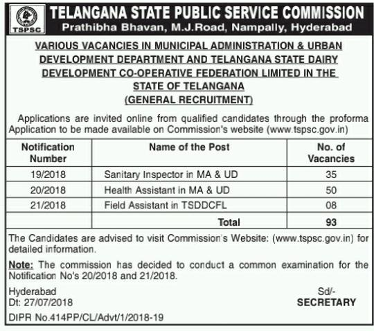 TSPSC Recruitment 2018 For 93 Field & Health Asst, Sanitary Inspectors Jobs Notification Apply Online /2018/07/tspsc-field-assistants-sanitary-inspectors-health-assistants-jobs-recruitment-notification-apply-online-applications-hall-tickets-results-download-www.tspsc.gov.in.html