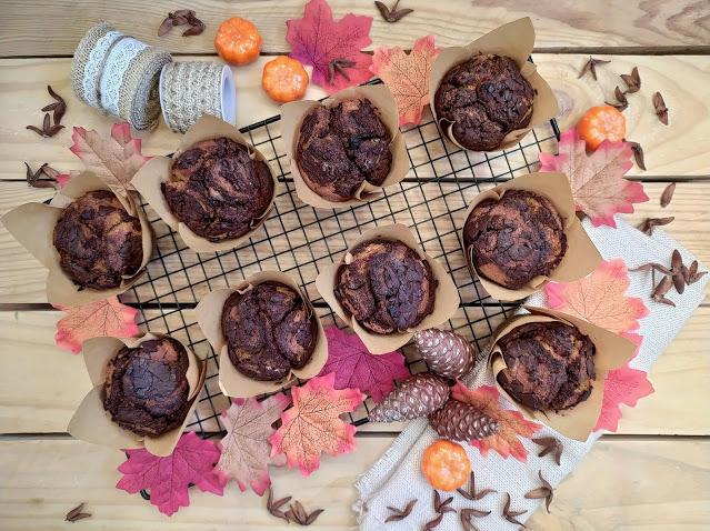 Muffins integrales de calabaza y chocolate marmolados Pumpkin Otoño Autumn Desayuno merienda postre Con horno Cuca