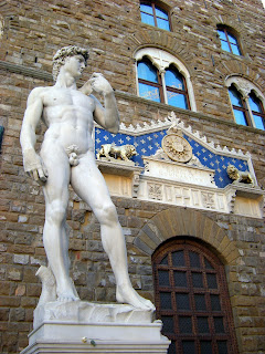 A replica of Michelangelo's David now stands  in front of the Palazzo Vecchio in Florence