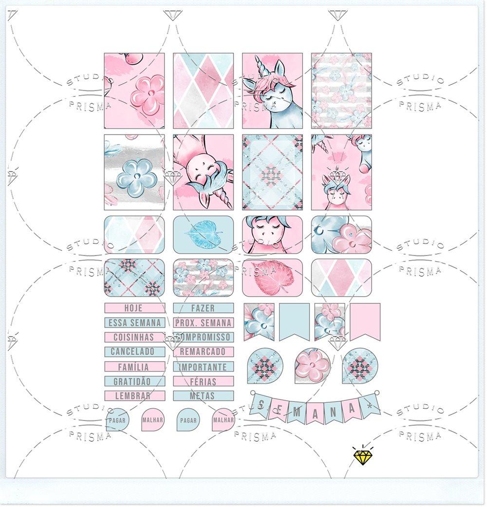Unicórnio Fofo: Stickers para imprimir
