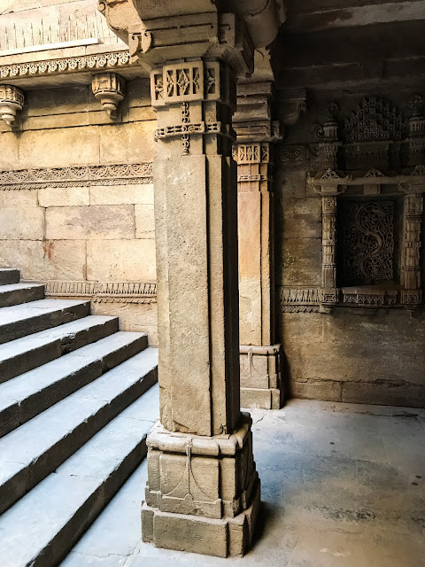Pillars at Adalaj Stepwell, Ahmedabad, Gujarat