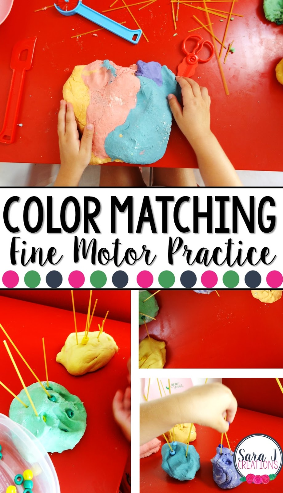 Playdough is such a fun way to practice fine motor skills and practice matching colors at the same time.  I loved this idea and we had our own spin on it.