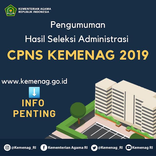 Pengumuman Hasil Seleksi Administrasi CPNS Kemenag RI Tahun Anggaran 2019
