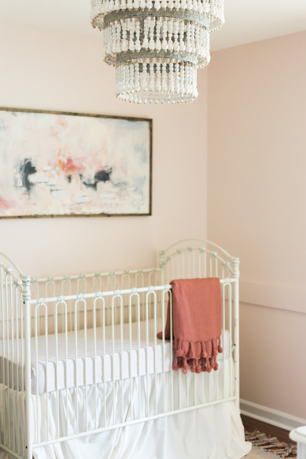 Unique Photo Credit Kalyn Wilson Photography Wood Beaded u Metal Chandelier Pink Throw with Poms in stock at Art u Soul
