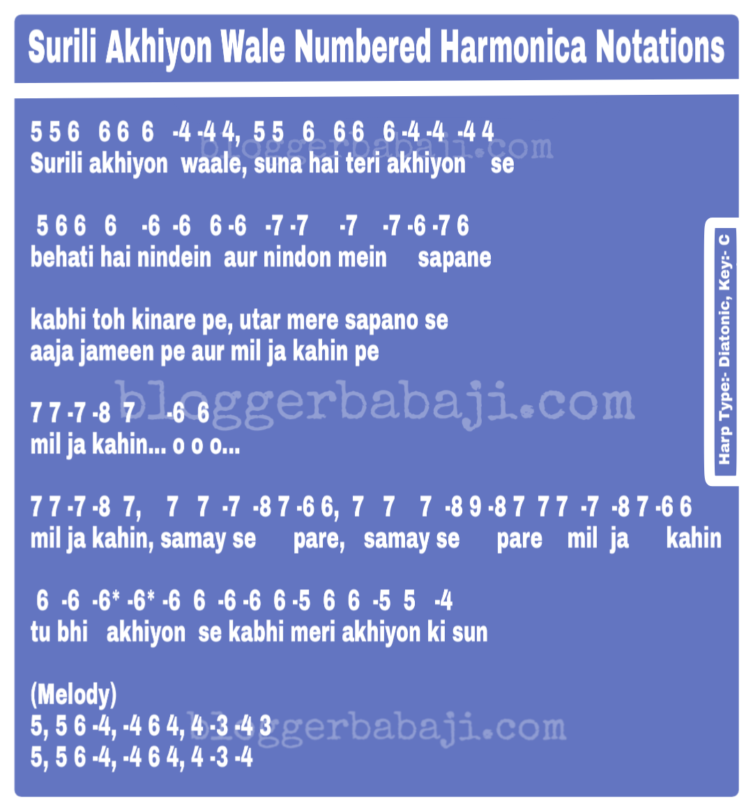 Harmonica Tabs Hindi Songs Surili Akhiyon Wale Vaaste song dhvani bhanushali, piano tutorial step by step with notes, how to play vaaste song on piano सीखो सरल के. harmonica tabs hindi songs surili