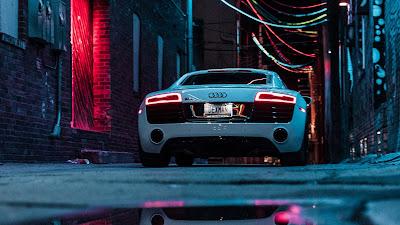 City Night, Audi R8, Sports Car, White, Neon