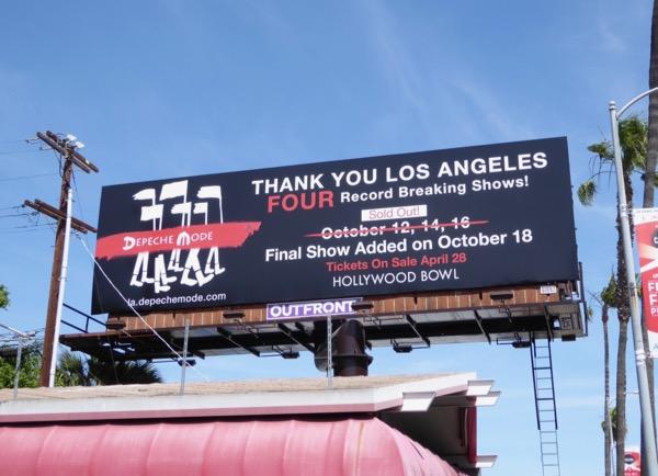 Depeche Mode Hollywood Bowl 2017 concert billboard