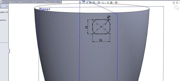Croquis del asa de la taza en el plano 1
