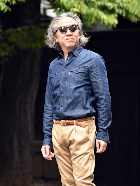 40代のウエスタン デニム シャツのコーディネート