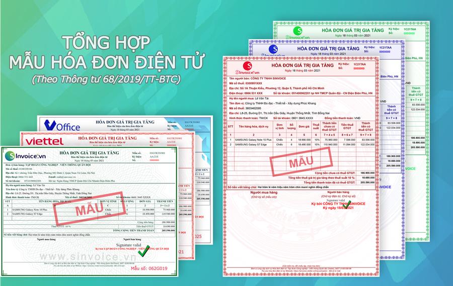 Hình 1 - Tổng hợp mẫu hóa đơn điện tử theo Thông tư 68/2019/TT – BTC