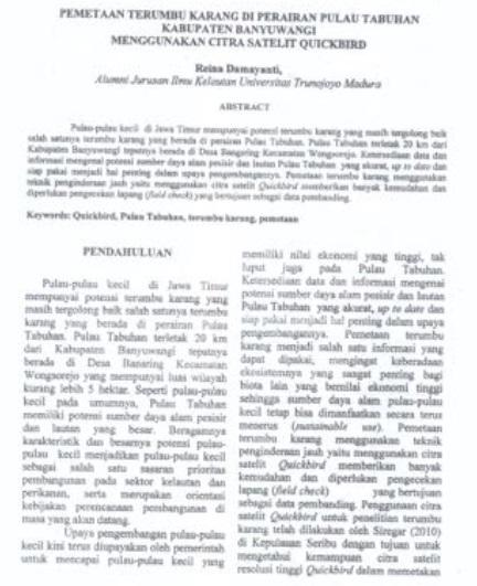 Pemetaan Terumbu Karang Di Perairan Pulau Tabuhan Kabupaten Banyuwangi  [PAPER]