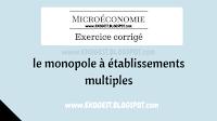 Exercice corrigé sur le monopole à établissements multiples | Exercice corrigé en Microéconomie