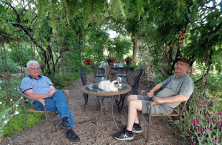 Two men in the shade of a pergola.