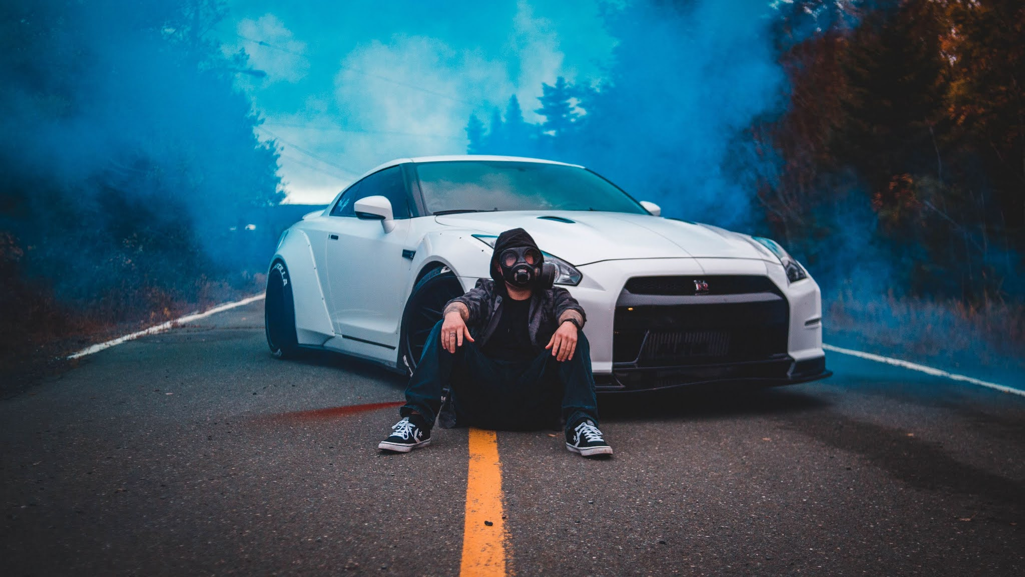 Anonymous Mask Guy White Car Road Anonymous mask guy white car road